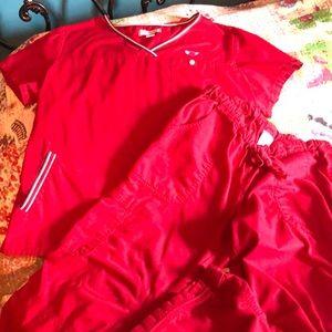 Kathy Peterson red scrub set